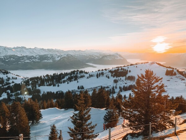 sunset from the queen of mountains, Mount Rigi in Switzerland
