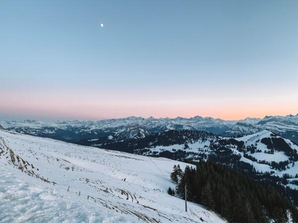 mt rigi at sunset in switzerland