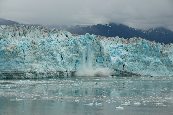 Calcing view of hubbard glacier in Yakutat Bay, Alaska Cruise with Princess Cruises