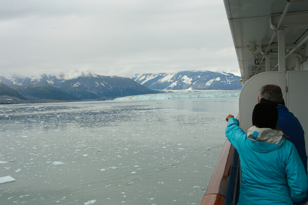 Wrap around balcony with view of hubbard glacier in Yakutat Bay, Alaska Cruise with Princess Cruises