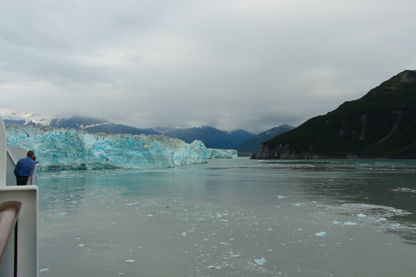 wrap around balcony view of hubbard glacier in Yakutat Bay, Alaska Cruise with Princess Cruises