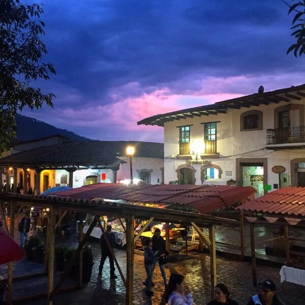 sunset from Jardin Principal, the Zocal in Valle de Bravo, a pueblo magico in edo mexico, Mexico