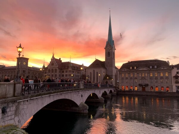 sunset limmat river zurich, switzerland