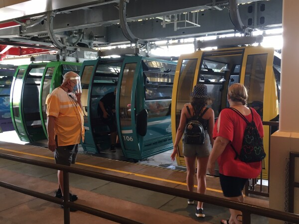 Boarding the Skyliner inside Walt Disney World