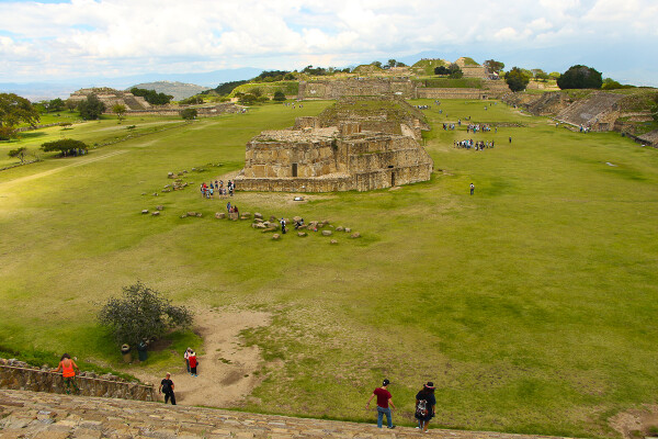 view from Nacho Libre stairs inside Monte Alban, Oaxaca, Mexico