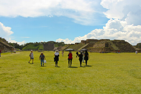 walking the site of monte alban, oaxaca, mexico