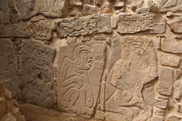 """Danzantes, carved stone """"dancers"""" in monte alban, oaxaca, mexico"""