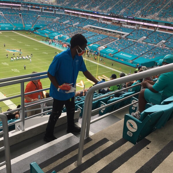 Hard Rock Stadium Covid Cleaning Swat Team during the Dolphins Game