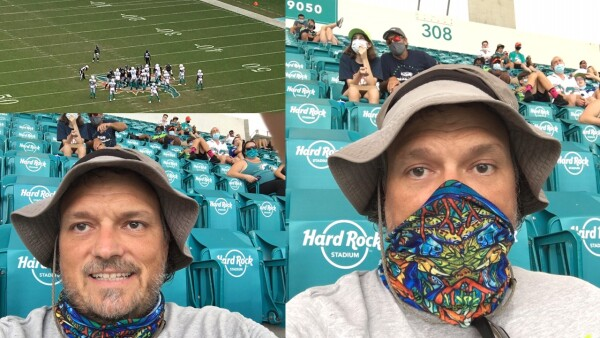 Happier without a mask in the stadium