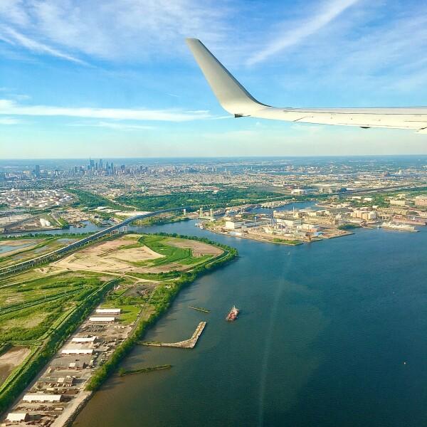 Window view on airplane at takeoff - philadelphia