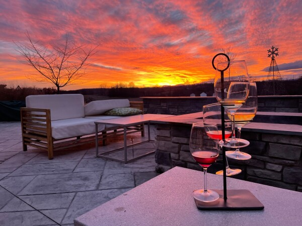 james charles winery in winchester, virginia at sunset with fireplace