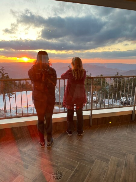 others outside capturing the sunset at Appalachia Kitchen in Snowshoe, WV