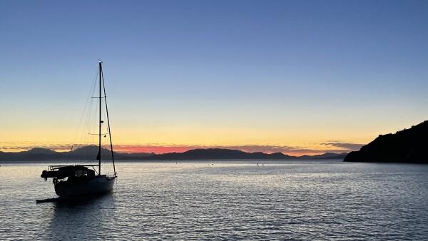 sunset anchored off isla carmen in the Loreto Bay National Park, Loreto, Baja California Sur, Mexico