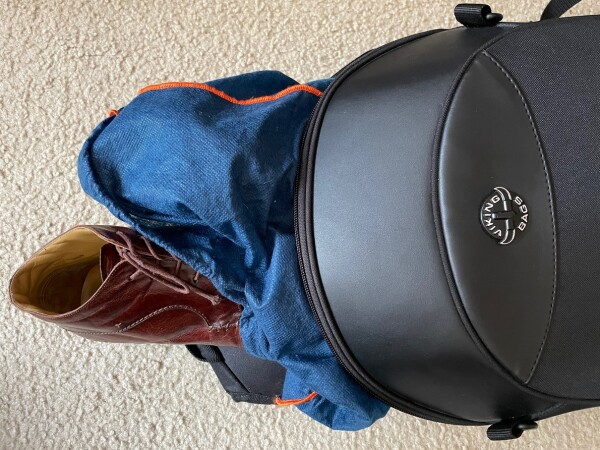placing dress shoes in viking bags motorcycle backpack