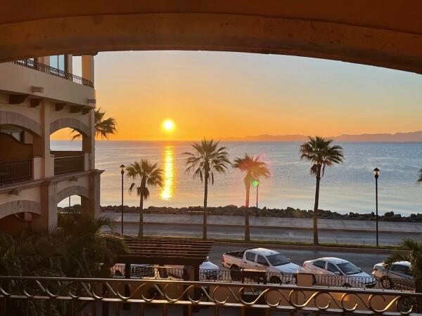 the sunrise from my balcony at La Mison Loreto Hotel in Lorecto, Baja California Sur, Mexico