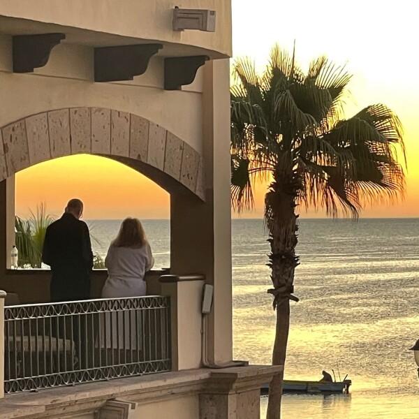 watching the sunrise at la mision loreto hotel in Loreto, BCS, Mexico