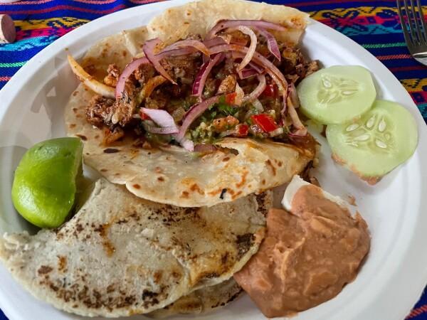 homemade tacos de cerdo en Las Cabanas de La Purisima, Baja California Sur, Mexico