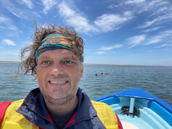 dolphin selfie in Magdalena bay offshore of Puerto Adolfo Lopez Mateos Baja California Sur, Mexico