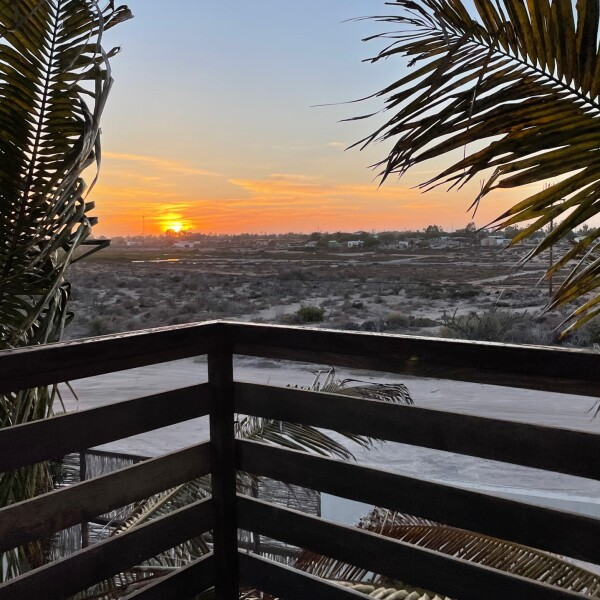 sunset view near magdalena bay at the Mangrove Inn in Puerto Aldofo Lopez Mateos, Baja California Sur, Mexico