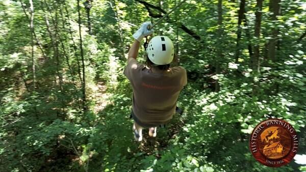 zippling through the longest zipline course found at Historic Banning Mills