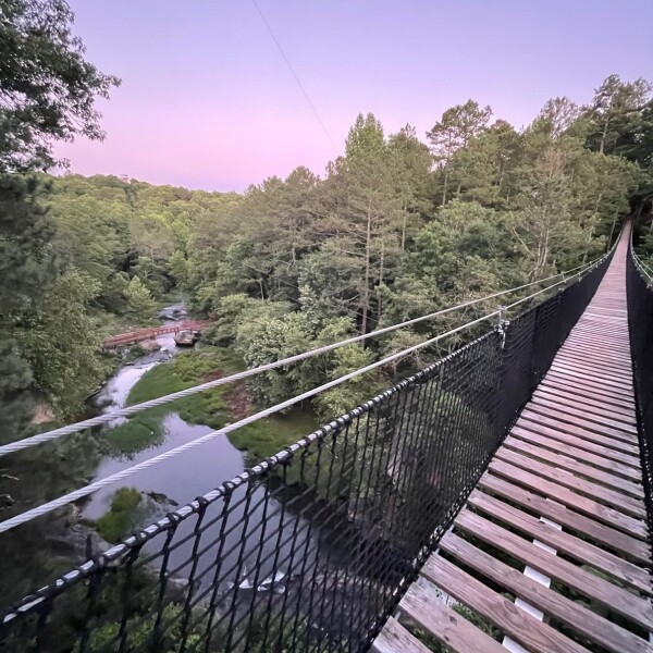 sunset at historic banning mills from the bridge