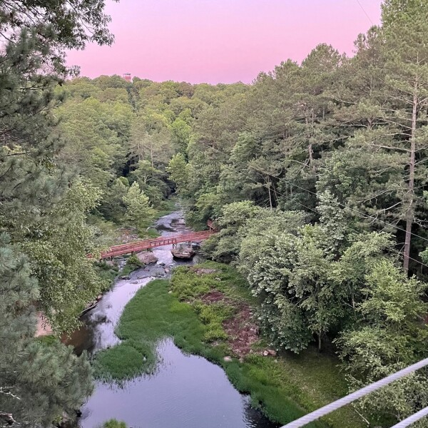 sunset from historic banning mills in georgia, USA
