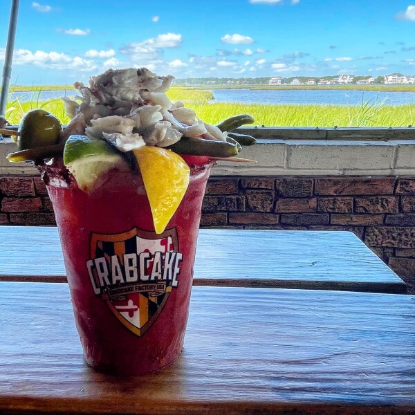 Bloody Mary with Crab at the Crab Cake Factory on Fenwick Island near Ocean City Maryland