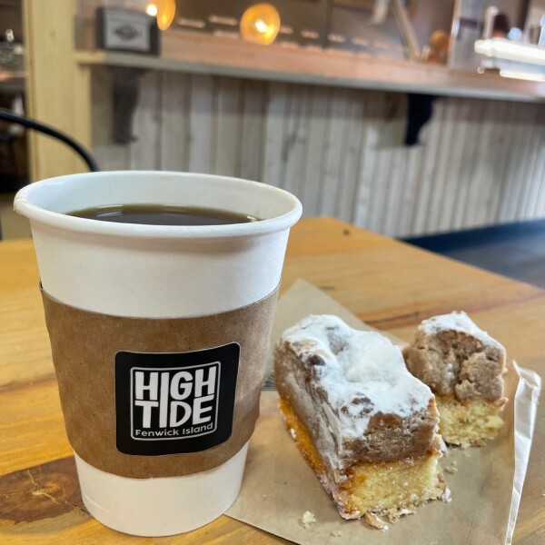 the crumb cake and coffee of high tide near Ocean City Maryland